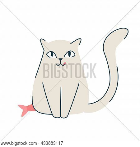 A Cute Gray Cat Is Sitting. Cartoon Vector Icon Illustration. Animals Icon Concept Isolated. Premium
