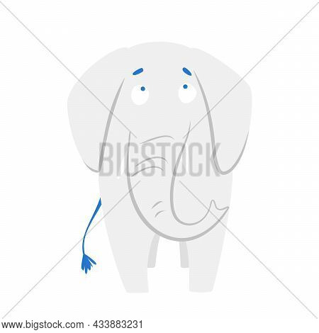 Funny Cartoon Cute Gray Elephant. Cute Baby Elephant. Front View. A Funny Animal. Isolated Over Whit