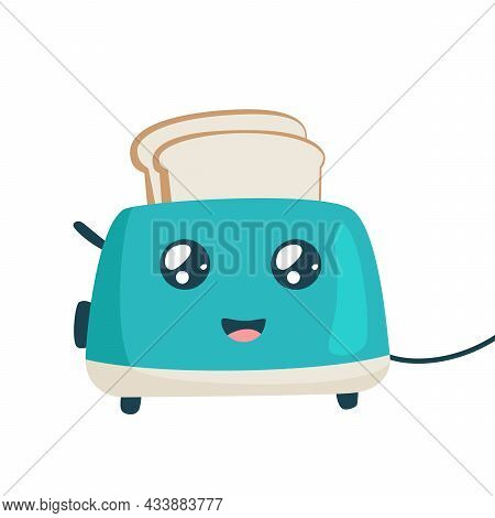 Cute Toaster And Toasts. Kawaii Breakfast. Funny Character Of Toaster With Bread On Isolated Backgro
