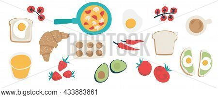 Healthy Breakfast Concept. Morning Set. Sandwiches Fresh Vegetables Omelette Coffee Juice. Isolated