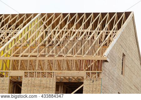 Rafters Of A New House Under Construction Beam Frame