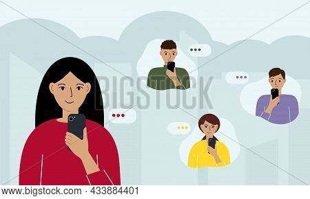 Smiling Woman Holds A Smartphone In Her Hand And Sends Messages To Friends. Flat Illustration Of Ins