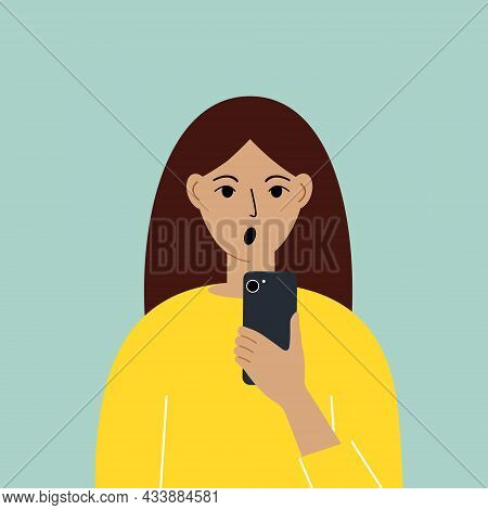 Shocked Woman With Mobile Phone, Front View. Taking Pictures, Reading, Chatting. Smartphone And Inte