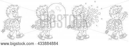 Comic Strip Of A Cheerful Little Schoolboy With A Backpack Walking To School And Blowing A Big Bubbl
