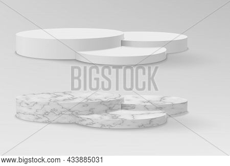 Realistic Marble And White Pedestals Or Podium, Abstract Geometric Empty Museum Stages, Stone Exhibi