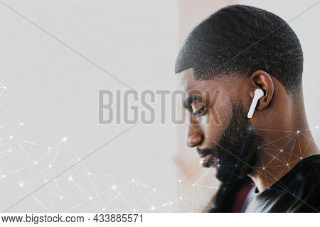5g global network background psd man streaming music service digital remix