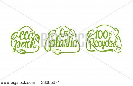 Set Eco Packaging Handwritten Sign Of Eco Friendly, Natural And Organic Labels For Print On Biodegra