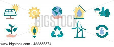 Set Of Environmental Icon. Stickers With Solar Panels, Waste Recycling, Water Purification And Lands