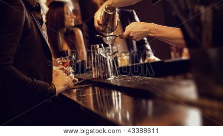Bartender Making A Cocktail Drink