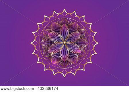 Seventh Chakra Sahasrara Logo Template. Gold Crown Chakra Symbol, Golden Luxury Sacral Lotus Sign Me