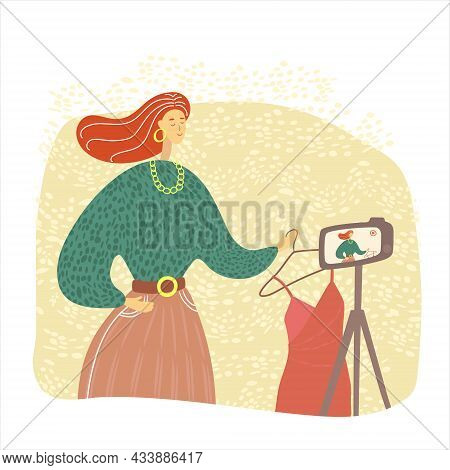 Beautiful Female Blogger Recording A Video. Fashion Blogger Shooting A Vlog For Followers. Influence