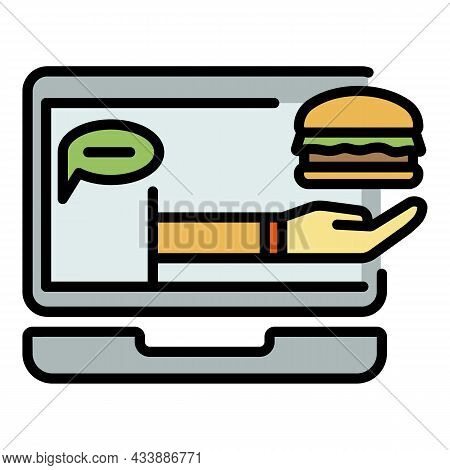 Online Food Ordering Icon. Outline Online Food Ordering Vector Icon Color Flat Isolated