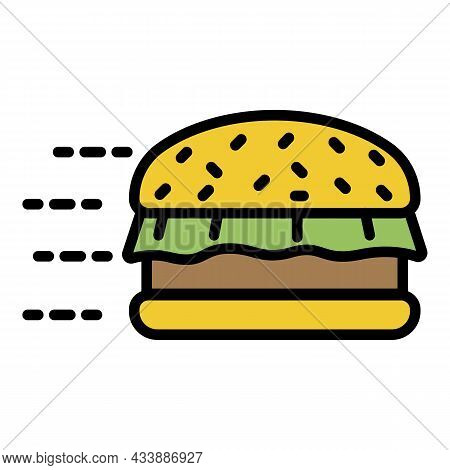 Fast Food Burger Icon. Outline Fast Food Burger Vector Icon Color Flat Isolated
