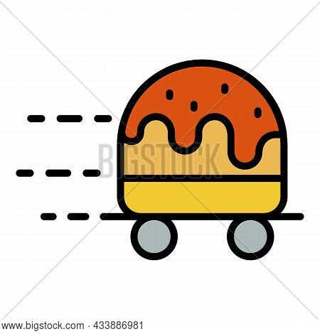 Wheeled Hamburger Icon. Outline Wheeled Hamburger Vector Icon Color Flat Isolated