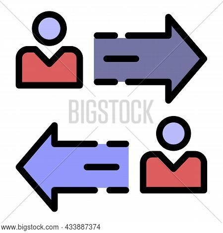 Person To Person Arrow Icon. Outline Person To Person Arrow Vector Icon Color Flat Isolated