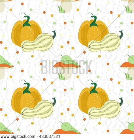 Vector Seamless Pattern With Pumpkins And Mushrooms. Fallen Leaves, Mushrooms And Pumpkins On A Whit