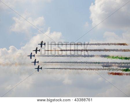 Frecce Tricolori On Aermacchi Mb-339 In Sky With Smoke Traces