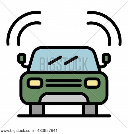 Front View Machine Icon. Outline Front View Machine Vector Icon Color Flat Isolated