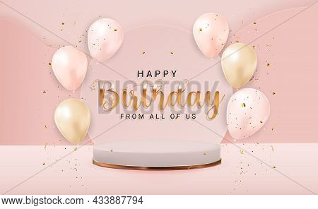 Happy Birthday Congratulations Banner Design With Confetti, Balloons For Party Holiday Background. V