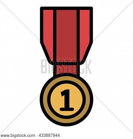 First Place Medal Icon. Outline First Place Medal Vector Icon Color Flat Isolated