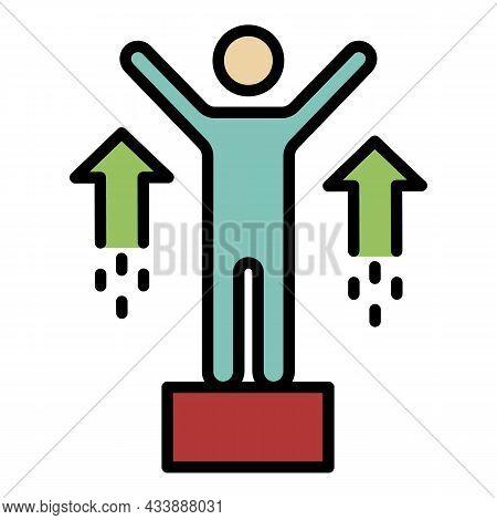 Pedestal Climb Icon. Outline Pedestal Climb Vector Icon Color Flat Isolated