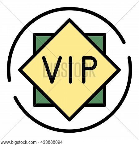 Vip Sign Icon. Outline Vip Sign Vector Icon Color Flat Isolated
