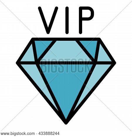 Vip Diamond Icon. Outline Vip Diamond Vector Icon Color Flat Isolated