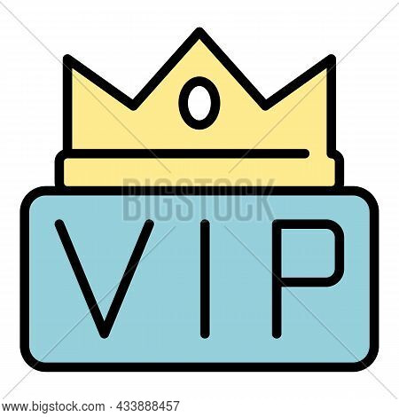 Crown On The Inscription Vip Icon. Outline Crown On The Inscription Vip Vector Icon Color Flat Isola