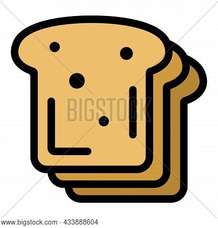 Sliced Bread Icon. Outline Sliced Bread Vector Icon Color Flat Isolated