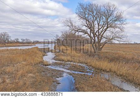 Gentle Side Channel Of Of A Great Plains River Of The Platte River Near Kearney, Nebraska