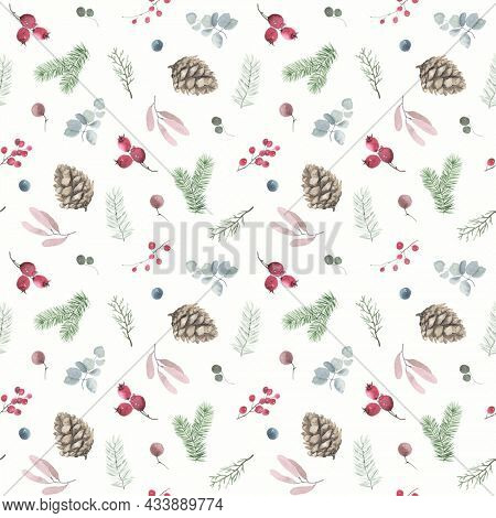 Christmas floral seamless pattern with winter holiday symbols, watercolor print of scattered pine cones, branches, leaves and berries for wallpaper, textile or wrapping paper.