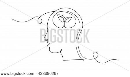 One Continuous Line Drawing Of Human Head With Plant Inside. Mental Health And Psychology Vector Con