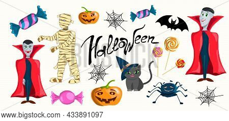 Set Of Cartoon Characters For Halloween. Vampire, Mummy, Pumpkins, Spider Web, Candy, Lollipops, Bat
