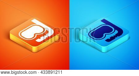 Isometric Diving Mask And Snorkel Icon Isolated On Orange And Blue Background. Extreme Sport. Diving