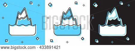 Set Iceberg Icon Isolated On Blue And White, Black Background. Vector