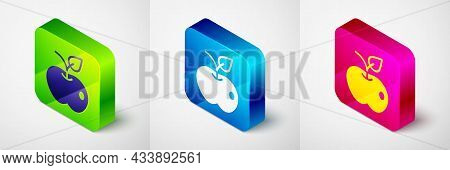 Isometric Apple Icon Isolated On Grey Background. Excess Weight. Healthy Diet Menu. Fitness Diet App
