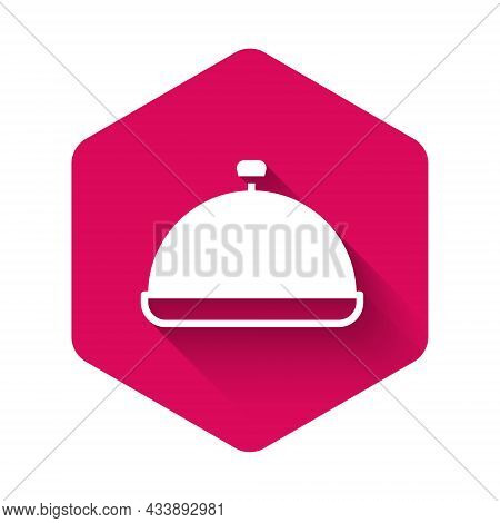 White Covered With A Tray Of Food Icon Isolated With Long Shadow Background. Tray And Lid Sign. Rest