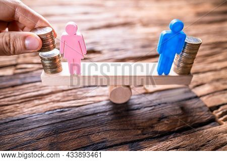 Equal Gender Seesaw Balance. Job Sex Parity