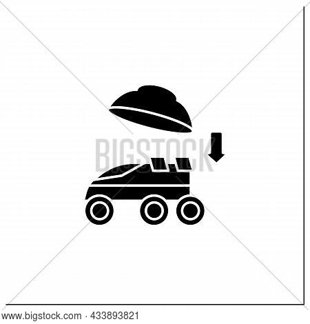 Landing On Surface Glyph Icon. Landing Rover On Planet. Research Uninhabited Land. Mars Landing Conc