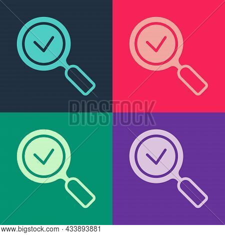 Pop Art Magnifying Glass With Check Mark Icon Isolated On Color Background. Search, Focus, Zoom, Bus