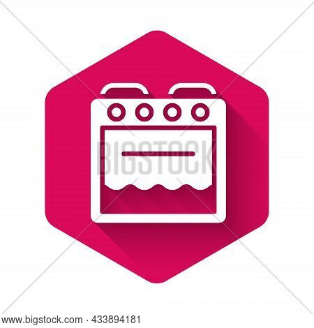 White Oven Icon Isolated With Long Shadow Background. Stove Gas Oven Sign. Pink Hexagon Button. Vect