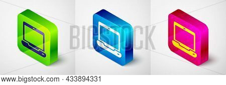 Isometric Laptop Icon Isolated On Grey Background. Computer Notebook With Empty Screen Sign. Square