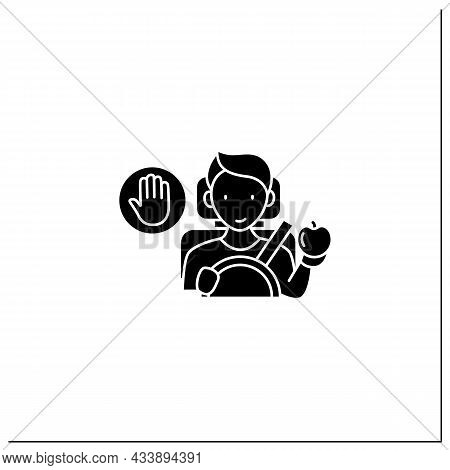 Mindful Eating Glyph Icon. Eating In The Car. Unconscious Nutrition In Traffic Jam.avoid Overeating
