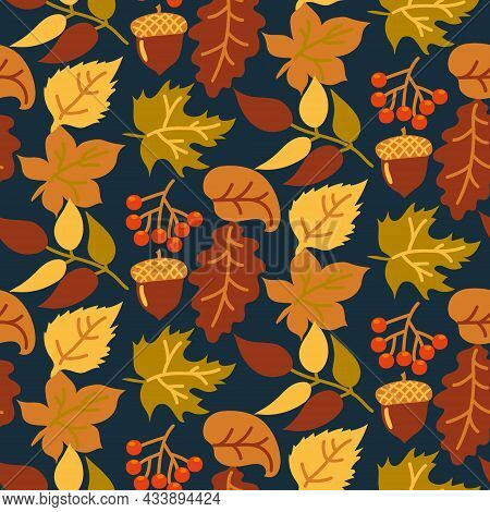 Abstract Seamless Autumn Background With Yellow And Orange Leaves On A Dark Background. Vector Autum