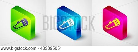 Isometric Microphone Icon Isolated On Grey Background. On Air Radio Mic Microphone. Speaker Sign. Sq