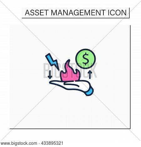 Risk Management Color Icon. Identification, Evaluation And Risk Prioritization. Hand In Fire. Help T
