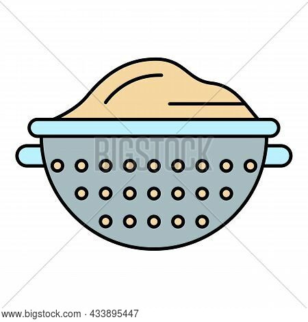 Sieve Icon. Outline Sieve Vector Icon Color Flat Isolated