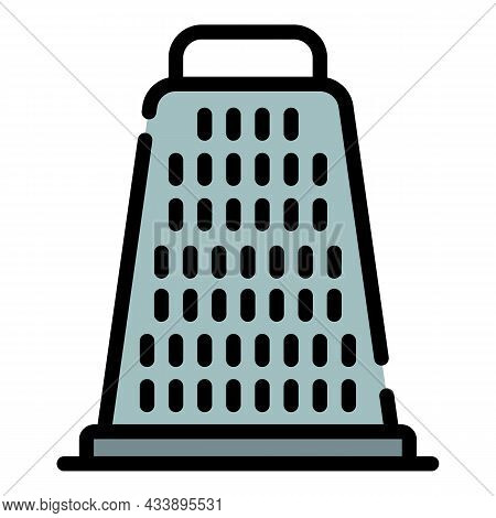 Metal Grater Icon. Outline Metal Grater Vector Icon Color Flat Isolated