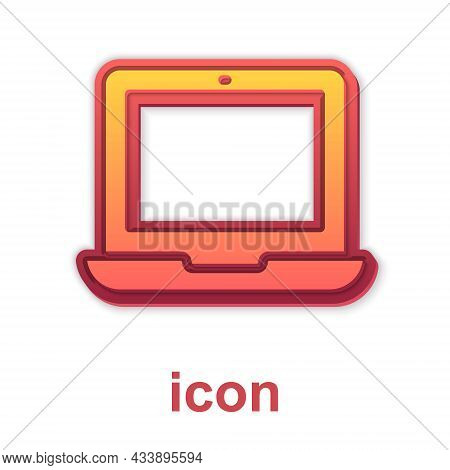 Gold Laptop Icon Isolated On White Background. Computer Notebook With Empty Screen Sign. Vector