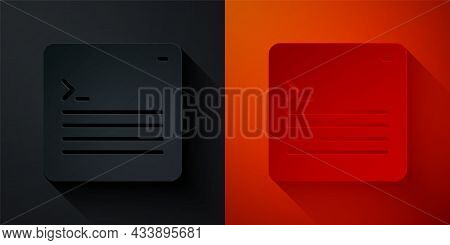 Paper Cut Software, Web Developer Programming Code Icon Isolated On Black And Red Background. Javasc